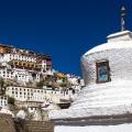 Het klooster van Thikse is in dezelfde stijl gebouwd als de Potala in Lhasa, Tibet